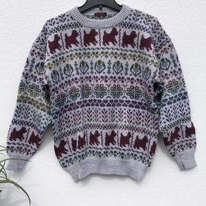 💛Junell Designer Knit Grey Puppy Sweater Pullover